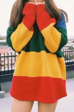 Street Style Fashion Color Block Loose Oversize Mock Neck Long Sleeve Sweater