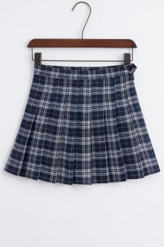New Stylish Classic Plaid Zip Fly Mini Pleated Skirt