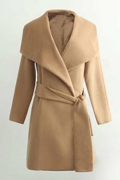 Folded Collar Long Sleeves Belted Solid Tunic Coat
