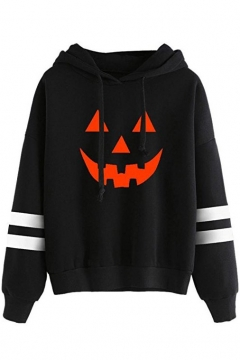 Halloween Collection Color Block Pumpkin Print Contrast Ribbed Long Sleeve Hoodie