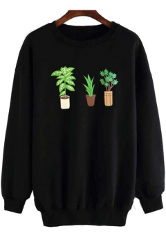 Fashion Potting Print Round Neck Long Sleeve Leisure Pullover Sweatshirt