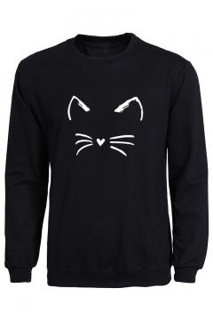 Cute Cartoon Cat Round Neck Long Sleeve Pullover Sweatshirt
