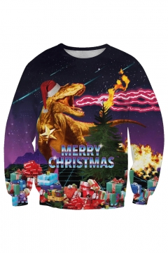 Christmas Dinosaur Patterned Round Neck Long Sleeve Sweatshirt