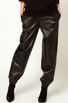Leisure Elastic Waist & Ankles Relaxed-Fit Loose Leather Pants
