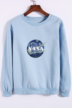New Fashion Letter Print Round Neck Long Sleeve Pullover Sweatshirt