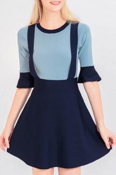 b851c791e3e New Fashion Simple Color Block Round Neck Half Sleeve A-Line Mini Dress