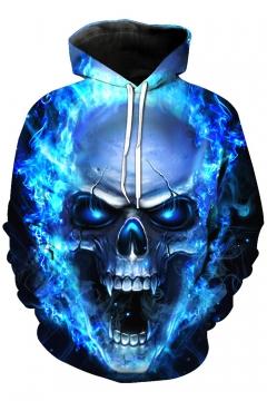 New Fashion Flame Skull Print Long Sleeve Hoodie