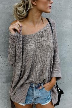 Simple Plain One Shoulder Long Sleeve Loose Sweater
