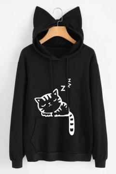 Cute Cat Print Drawstring Hood Long Sleeve Pocket Hoodie