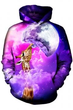Chic 3D Galaxy Giraffe Print Pocket Long Sleeve Hoodie