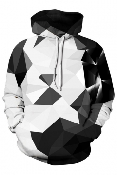 Fashionable Geometric Printed Long Sleeves Pullover Hoodie with Pocket