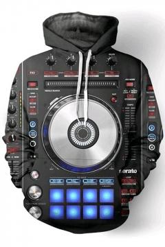 Trendy 3D DJ Keyboard Print Long Sleeve Drawstring Hoodie
