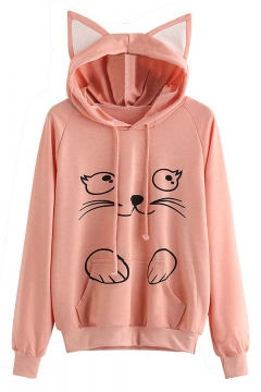 Lovely Cat Cartoon Pattern Long Sleeves Pullover Hoodie with Ears & Pocket