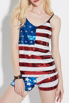 Fashionable Sequined Star Striped Flag Pattern Cami Shorts Co-ords