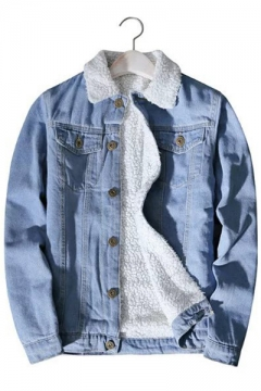 d9903c7d99 Simple Plain Long Sleeve Single Breasted Denim Jacket for Couple