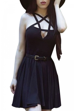 Gothic Star Shaped Strappy Hollow Neck Sleeveless Pleated Mini Slim-Fit A-line Dress