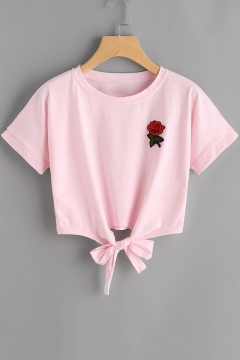 Fancy Floral Embroidery Striped Round Neck Bow Tie-Waist Short Sleeves Summer Beach Tee