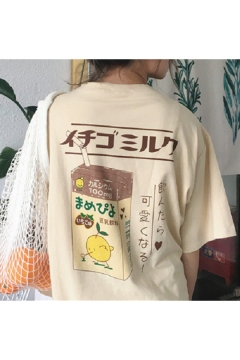 Leisure Japanese Characters Juice Pattern Round Neck Short Sleeves Graphic Tee