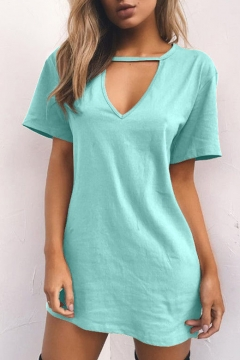 Hot Fashion Simple Plain V-Neck Short Sleeve Mini Dress