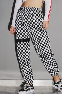 Fashion Classic Plaid Print Elastic Waist Casual Pants