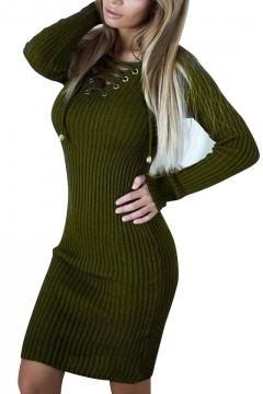 Chic Hollow Strappy Front Long Sleeve Plain Bodycon Mini Dress