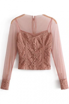 Spring Collection Mesh Patched Floral Lace Panel Corset Button Detail Cropped Blouse