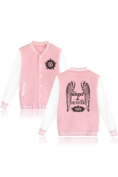 Cool Letter Wing Star Sun Printed Button Down Color Block Unisex Baseball Jacket