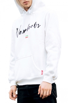 Casual Embroidery Letter Flag Pattern Long Sleeve Hoodie with Pocket
