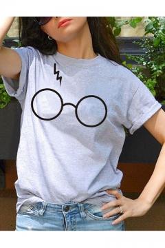Fancy Eyeglasses Glasses Lightning Printed Round Neck Short Sleeves Casual Tee