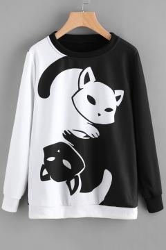 Fancy Color Block Cartoon Cat Tai Chi Printed Long Sleeves Pullover Monochrome Sweatshirt