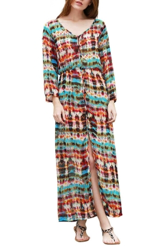 c63882f478 Tie Dye V Neck Long Sleeve Split Front Elastic Waist Maxi Dress