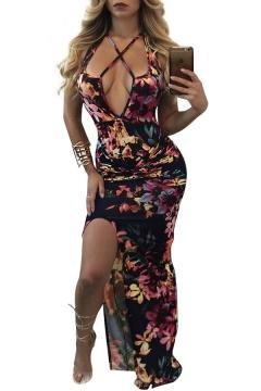Secy Open Back Split Side Floral Print Halter Neck Maxi Slip Dress