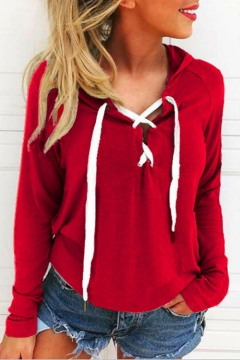 Simple Basic Lace-up Front Long Sleeves Pullover Loose Leisure Hoodie