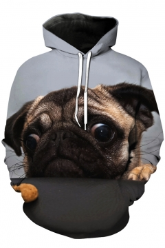 Comic 3D Pug Dog Printed Oversize Long Sleeve Hoodie with Pockets