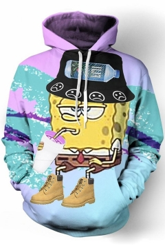 New Fashion Cartoon Printed Long Sleeves Pullover Hoodie with Pocket