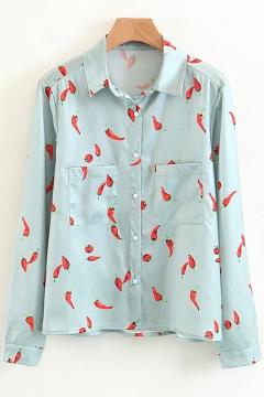 Unique Chilli Hot Pepper Allover Pattern Lapel Chest Pockets Button Front Shirt