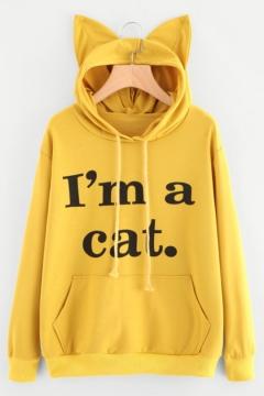 Chic Simple Letter Printed Cat Ears Embellished Hood Long Sleeve Leisure Hoodie