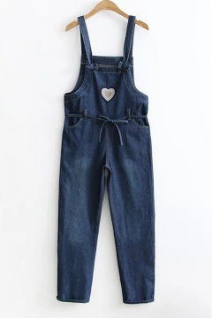 c87a3599a9a Pop Fashion Sweetheart Embroidery Bow Belted Pocket Detail Overall Denim  Jumpsuit