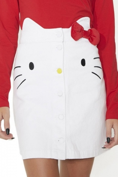Lovely Hello Kitty Pattern Embroidered Buttons Down Mini A-Line Denim Skirt