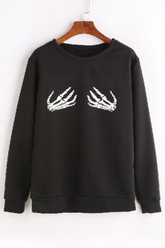Stylish Skeleton Hand Print Round Neck Long Sleeves Pullover Sweatshirt