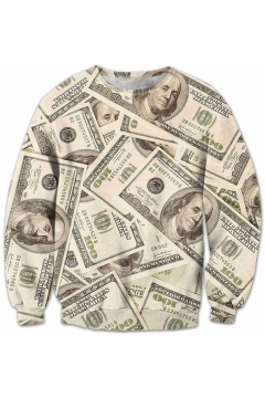 Unique Cash Money Character Pattern Round Neck Long Sleeves Pullover Sweatshirt