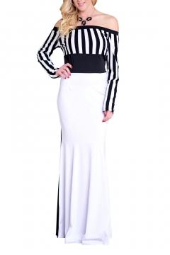 0dd884ca28e Elegant Off the Shoulder Striped Pattern Color Block Maxi Pencil Dress
