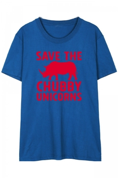 SAVE THE CHUBBY UNICORNS Letter Animal Printed Round Neck Short Sleeve Tee