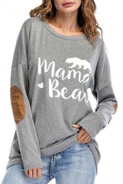 MAMA BEAR Graphic Printed Round Neck Long Sleeve Tee