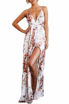 Floral Printed Spaghetti Straps Open Back Split Front Maxi Beach Dress