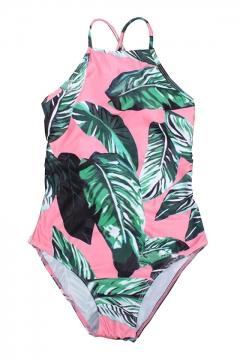 Palm Leaf Printed One Piece Lace Up Back Swimwear