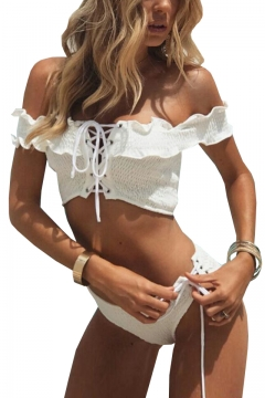 Sexy Pleated Off The Shoulder Short Sleeve Lace Up Detail Bikini