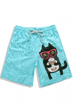 8477430de4 Best Bright Blue Fast Dry Elastic Cat Kitty Cartoon Swim Trunks with Pockets  without Lining