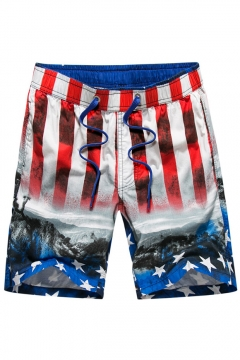 4dcfe63155 Elastic Mens Big and Tall American Flag Red White Blue Swim Trunks with  Drawcord and Pockets
