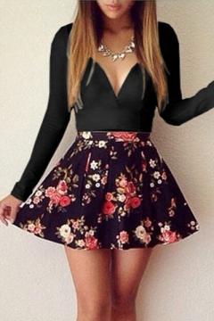 Color Block Floral Printed V Neck Long Sleeve Mini A-Line Dress